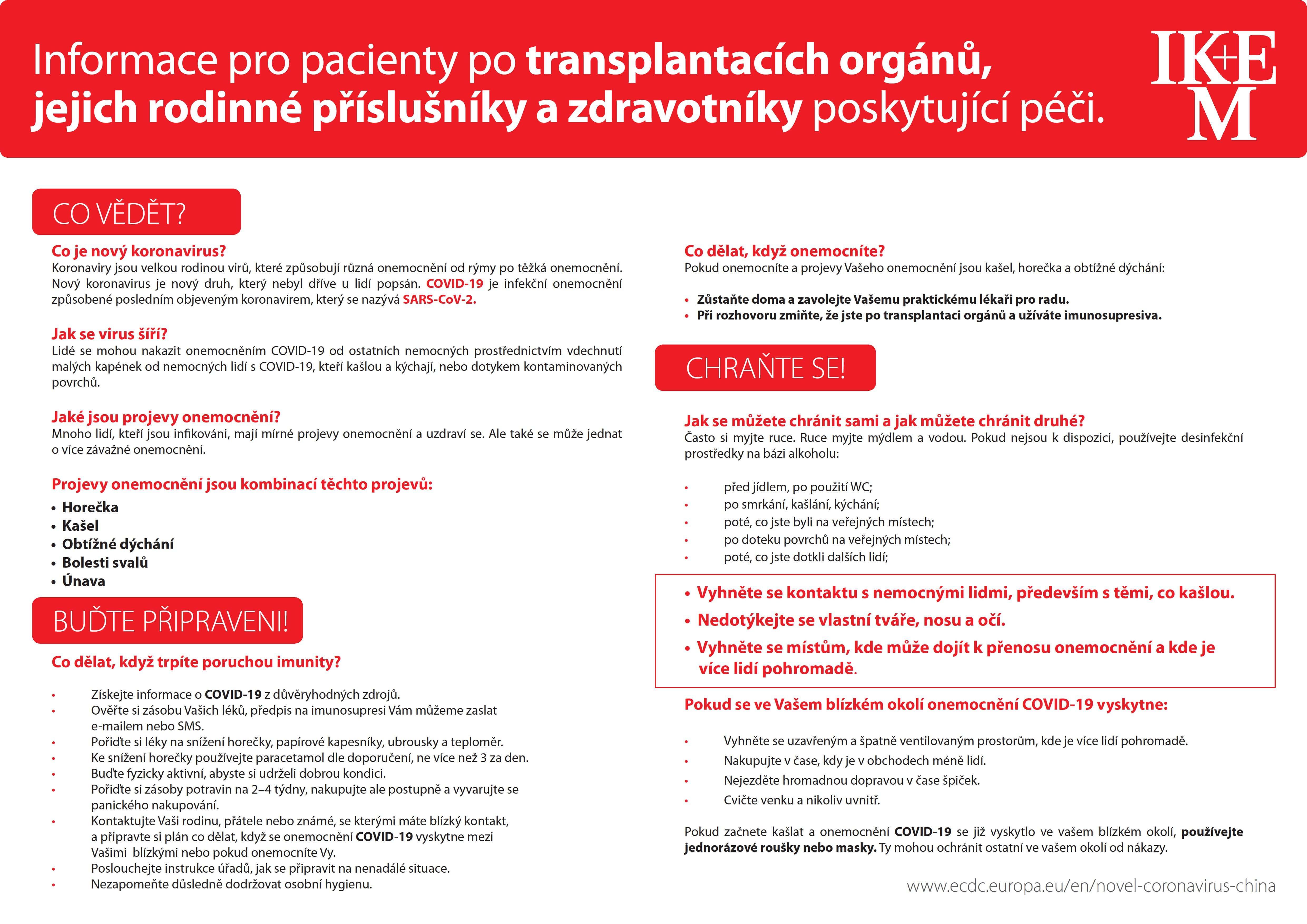 Informace pro pacienty po transplantacích orgánů, jejich rodinné příslušníky a zdravotníky poskytující péči.