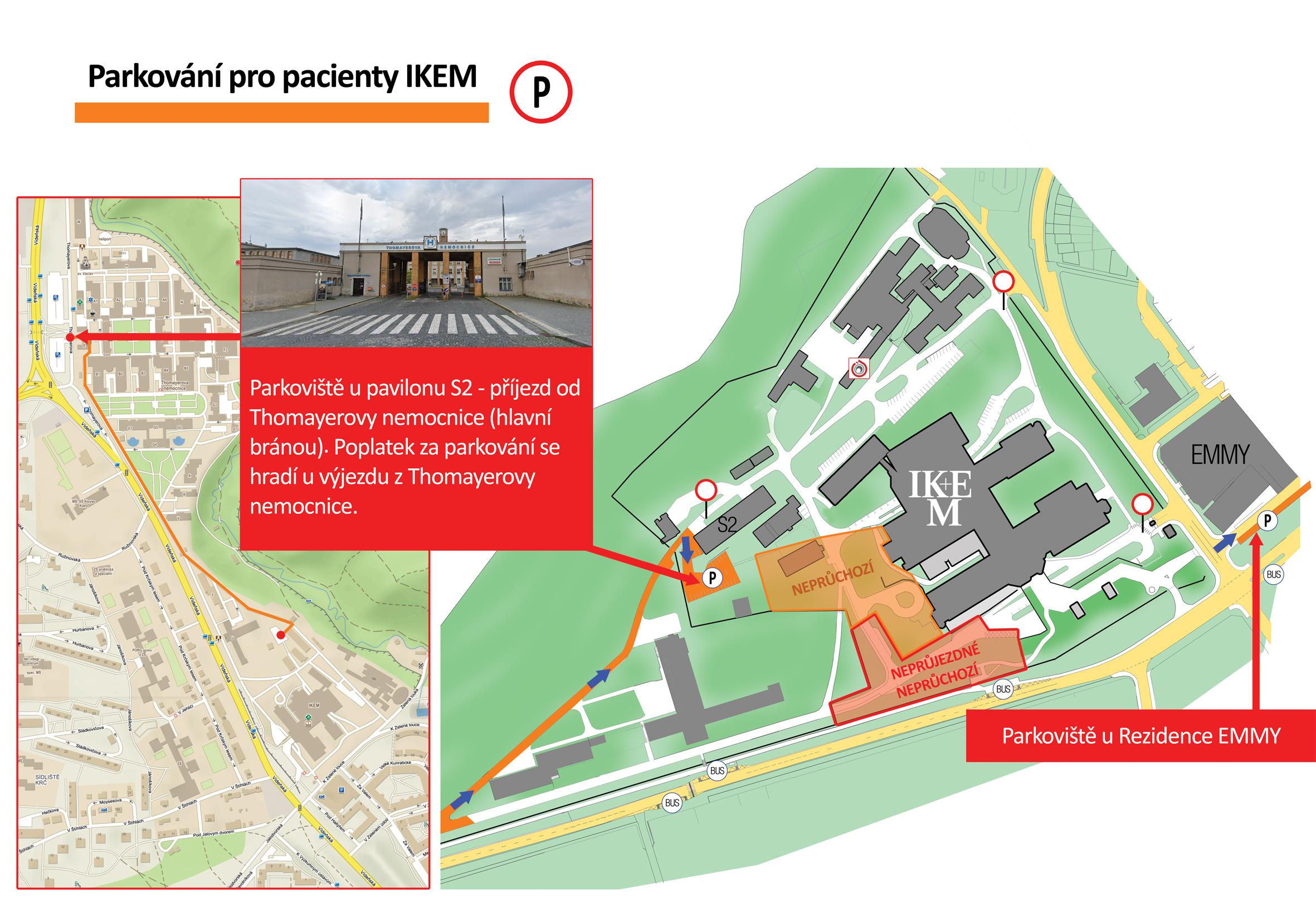 Plánek parkování pro pacienty IKEM